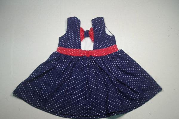 Платье горошек синее