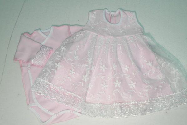 Платье кружевное с боди розовое