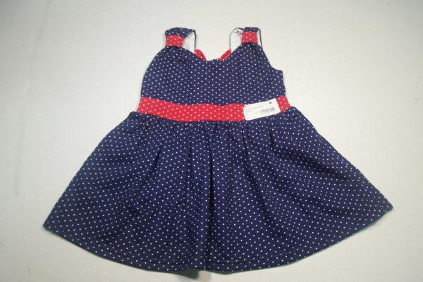 Платье горошек синий