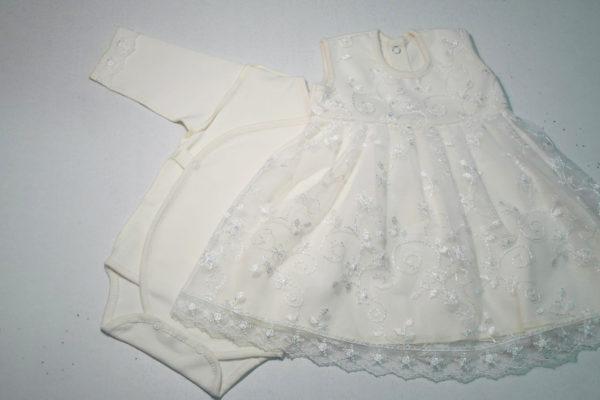 Платье кружевное с боди молочное